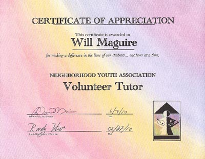 Certificate of Appreciation for Volunteer Tutoring from Neighborhood Youth Association (NYA) - Law Offices of William E. Maguire, Specializing In Trademark and Copyright Law, TrademarkEsq, TMEsq